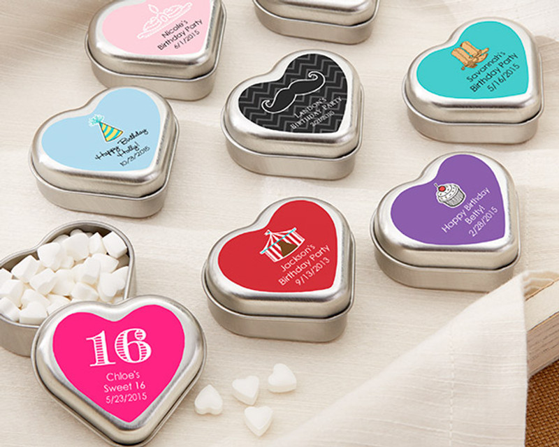 """MINT FOR YOU"" BRUSHED-METAL HEART-SHAPED MINT TIN - BIRTHDAY"