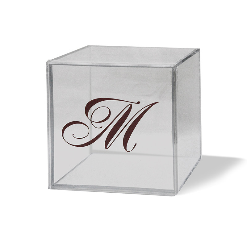 "Monogrammed 4"" x 4"" Lucite Box, Available in colors"