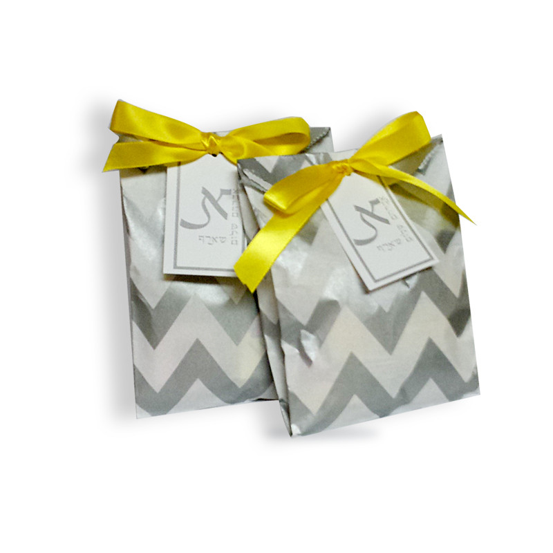 Chevron Upsherin Bag With Rectangular Monogrammed Tag (Ribbon Sold Below)