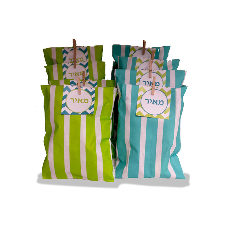 Stripe Paper Bags With Tag & Clip
