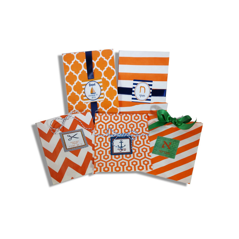 Orange Printed Paper Bags with Optional Personalized Label (Sold Below)