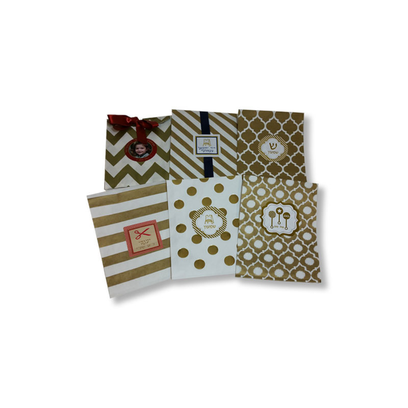 Gold Printed Paper Bags with Optional Personalized Label