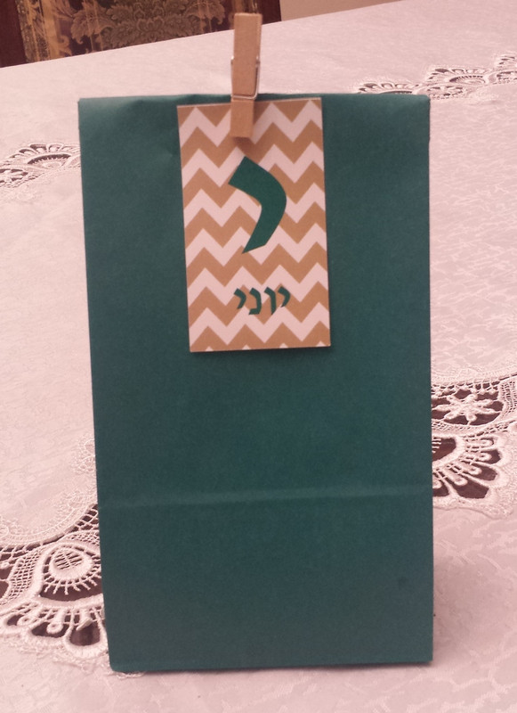 Teal Upsherin Paper Bag with Chevron Tag & Clip