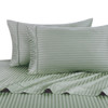 Sage Twin Extra Long Sheets 100% Cotton 500 Thread Count Damask Striped
