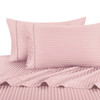 Blush Twin Extra Long Sheets 100% Cotton 500 Thread Count Damask Striped
