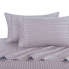 Lilac Twin Extra Long Sheets 100% Cotton 500 Thread Count Damask Striped