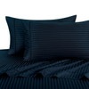 Navy Twin Extra Long Sheets 100% Cotton 500 Thread Count Damask Striped