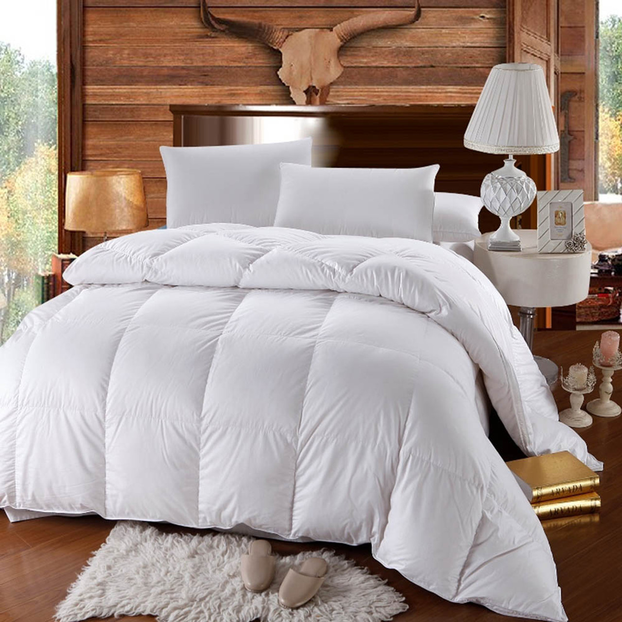 500 thread count white duck down comforter extra warm winter. Black Bedroom Furniture Sets. Home Design Ideas