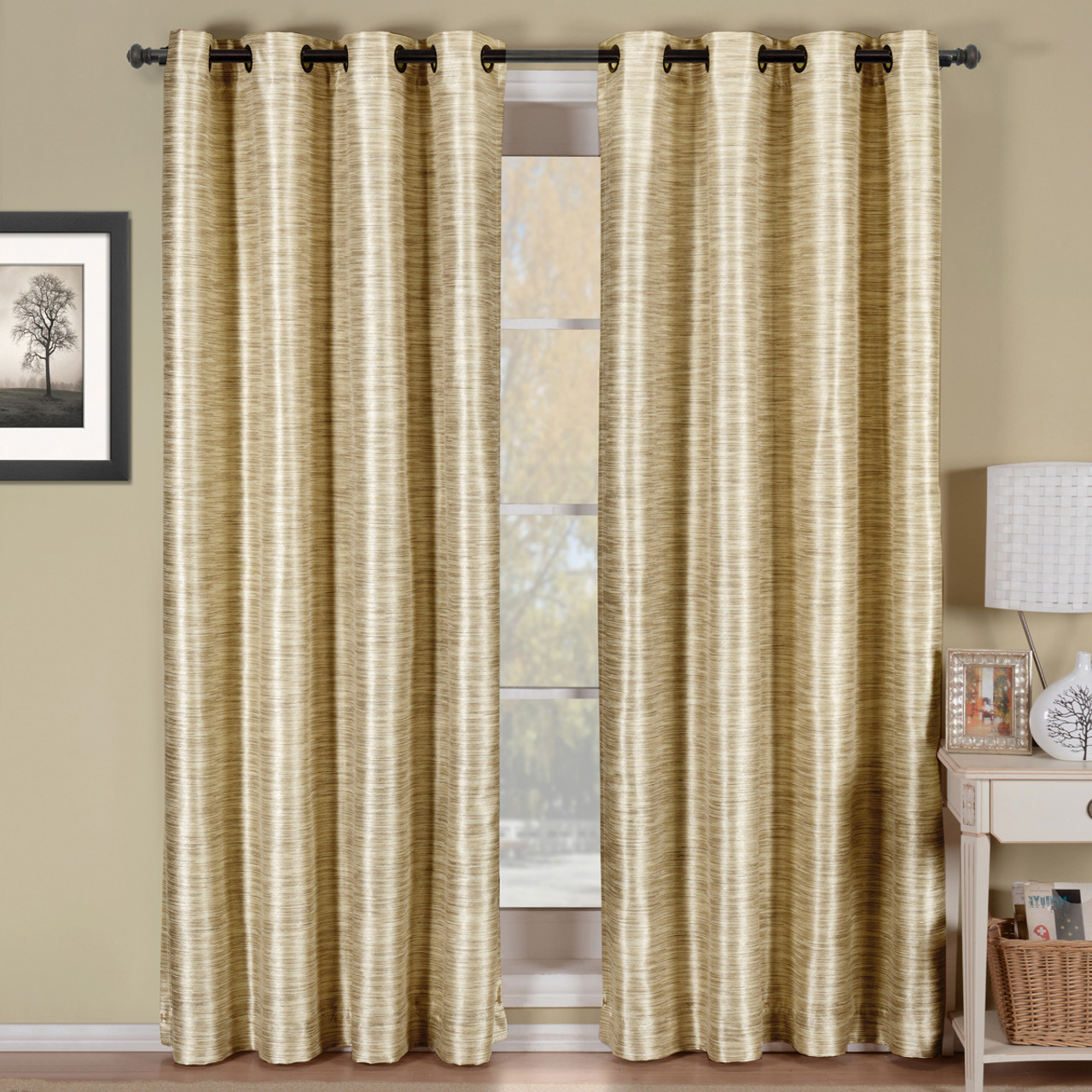 Geneva Lined Energy Saving Black-Out Grommet Curtain Panel Single