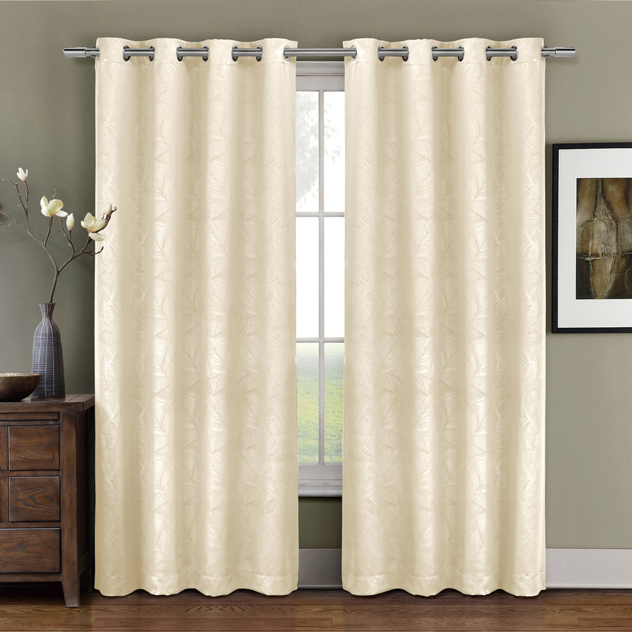 ... Prairie Contemporary Leafy Design Blackout Grommet Curtain Panel Ivory  ...