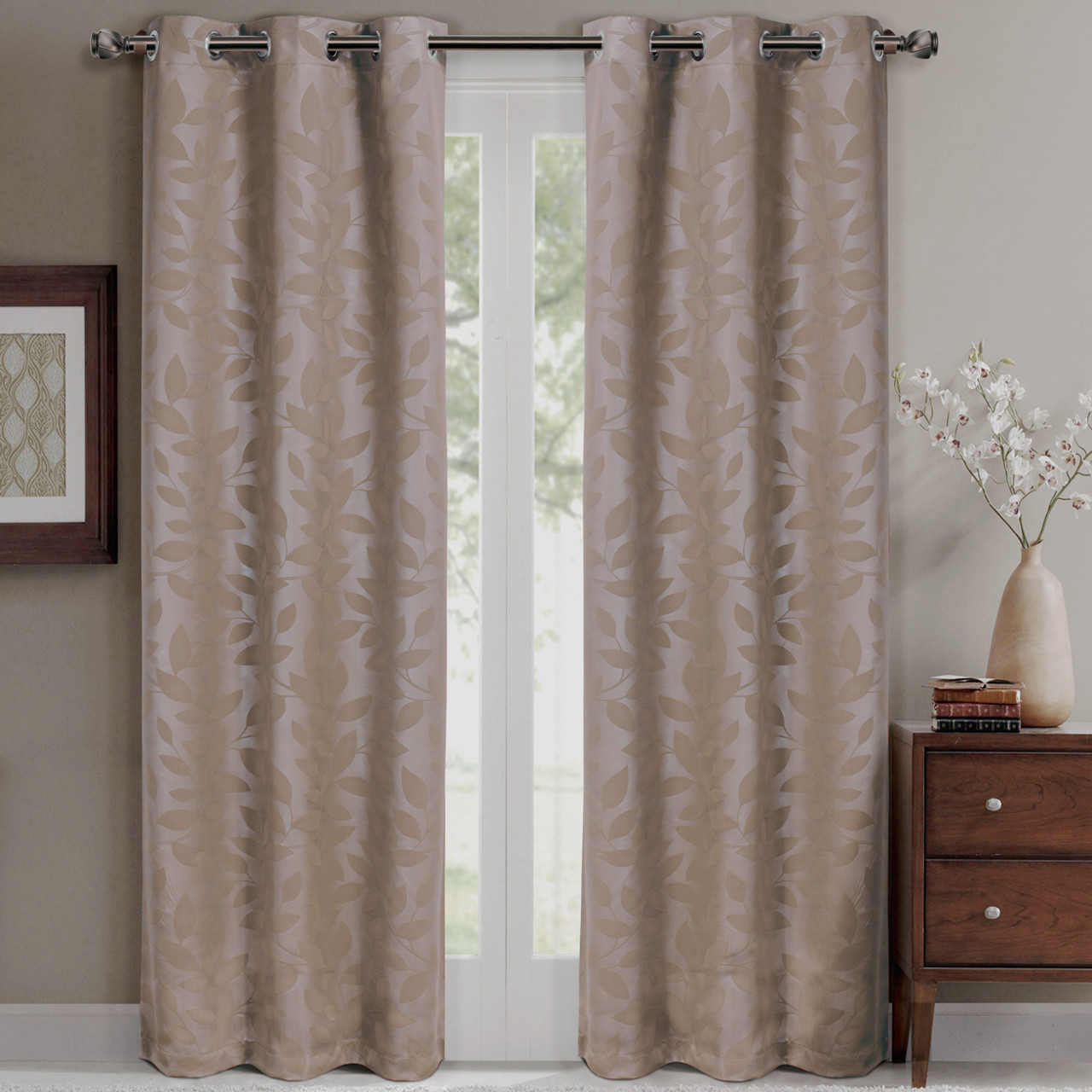 ... Virginia Room Darkening Grommet Curtains  Taupe ...