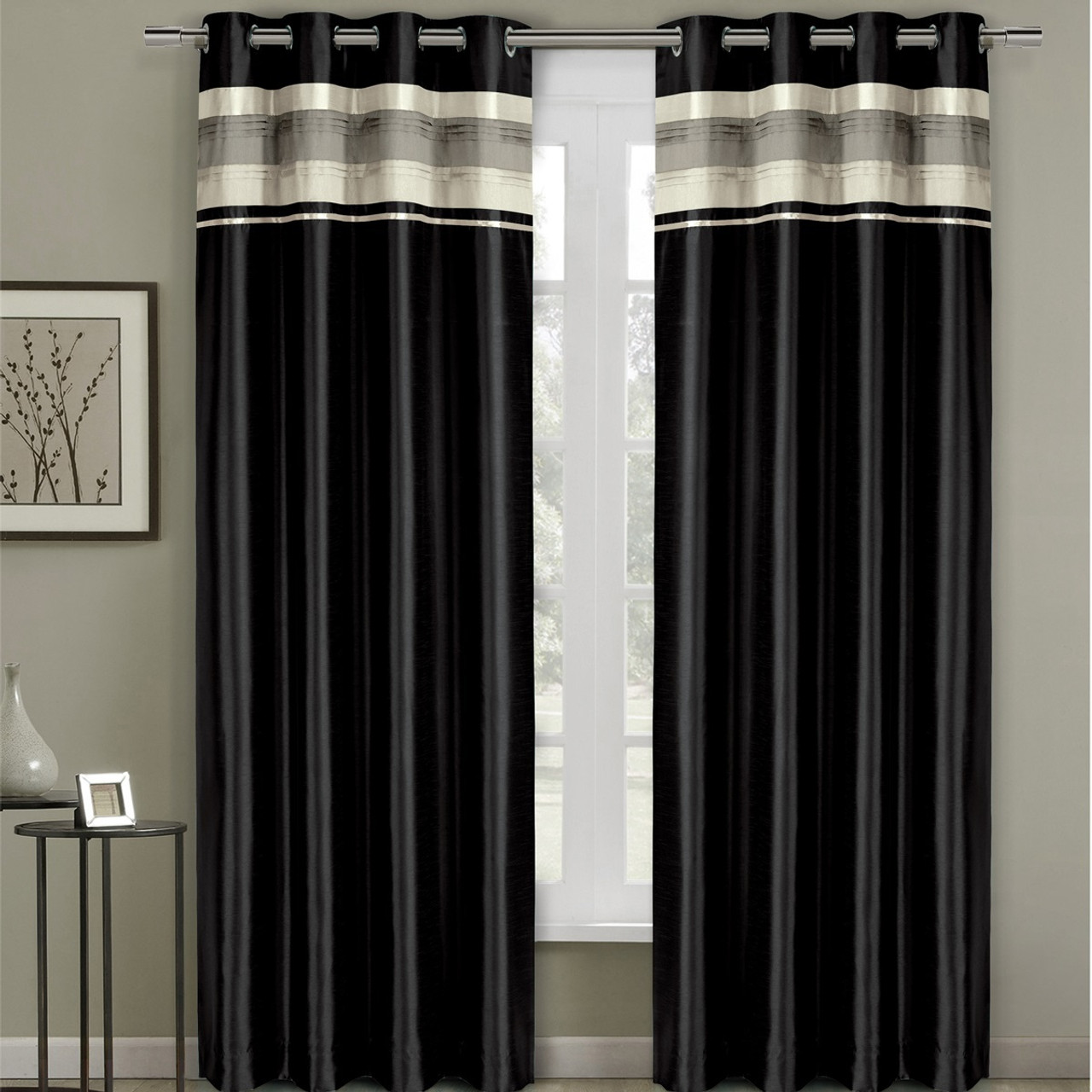 Black Curtains Part - 45: ... Milan Lined Blackout Curtains With Grommets Single Panel- Black ...