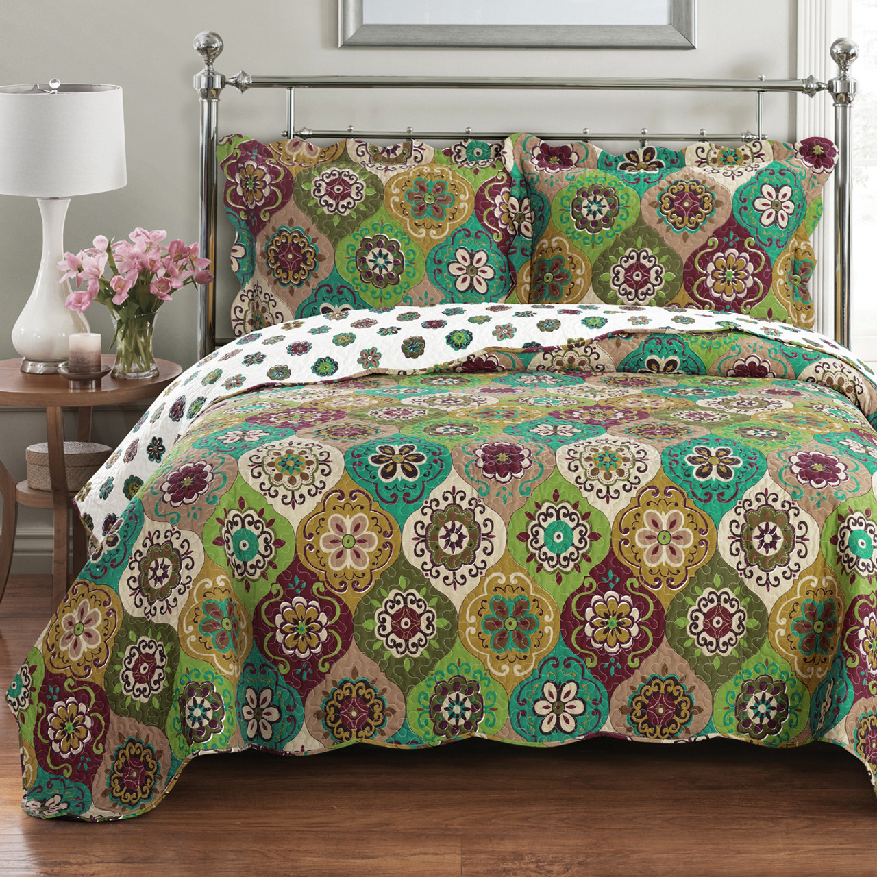 Delightful Bonnie Quilted Coverlet Set Image ...