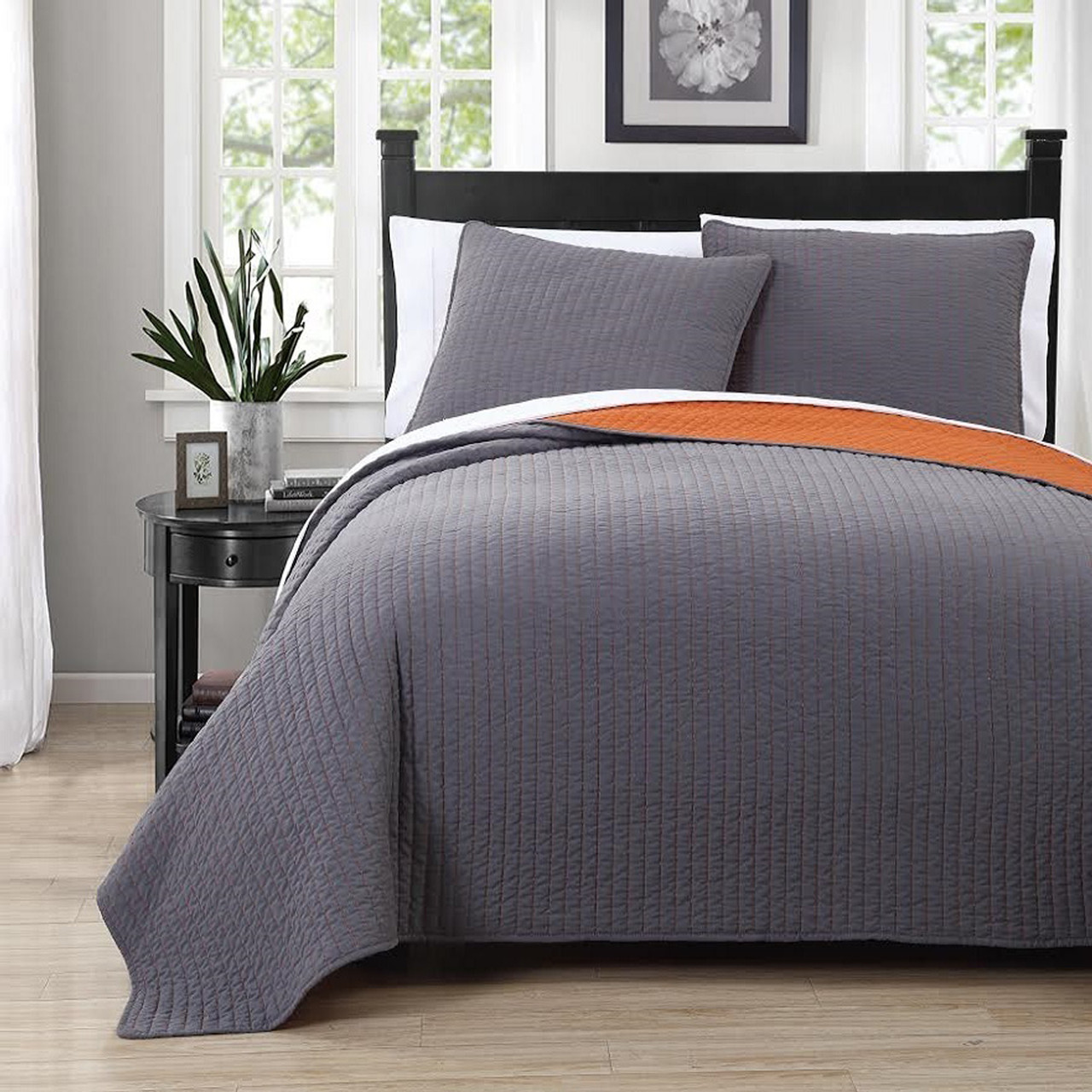 Attractive ... Project Runway Queen Coverlets Image Gray/Orange ...