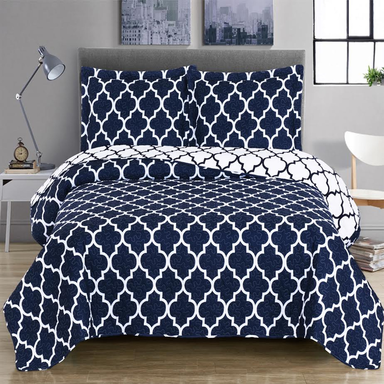 Meridian Over Sized Coverlet/ Gray · Meridian Bedspread Set Image/ Navy ...