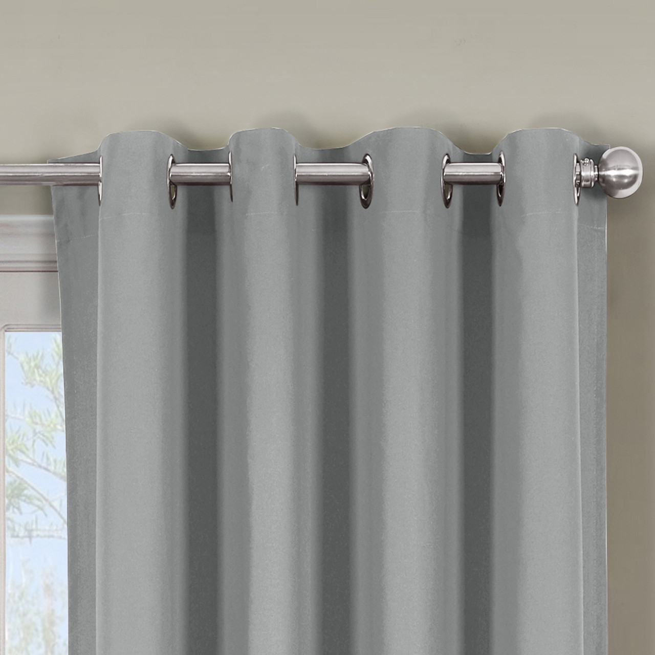 Great ... Close Up Luxor Grommet Top Curtain Panel  Gray ...