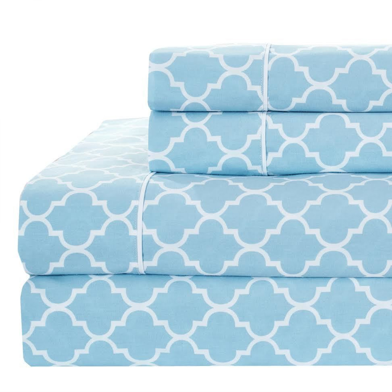 Printed Split King Bed Sheet Sets 100% Cotton Percale