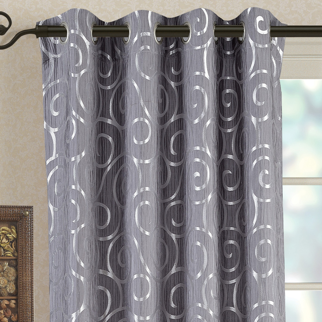 Best Deals on Abstract Tuscany Jacquard Curtain Panels with ...