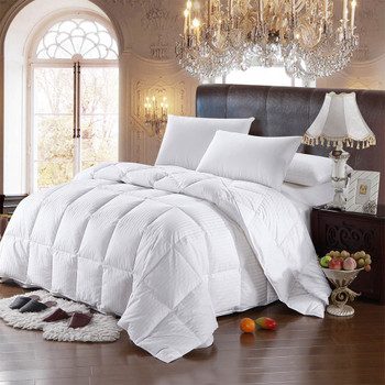 600Fill-Power Striped White Goose Down Comforter Oversized All Season Fill Weight 300Tc