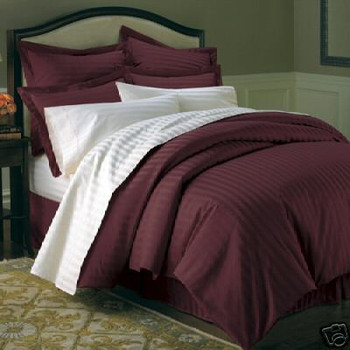 600 Thread Count 100% Cotton Sateen Striped Duvet Cover Set