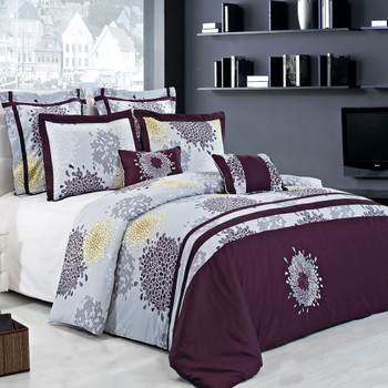 7 Piece Fifi 100% Cotton Embroidered Duvet Cover Set