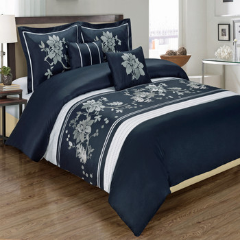 Myra 100% Cotton Navy 5-Piece Duvet Cover Set
