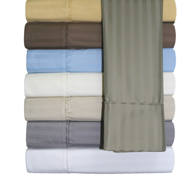 Striped Wrinkle-Free Cotton Sheets 650 Thread Count  With Colors