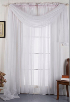 Solid Sheer Curtain Panels with rod pockets-White