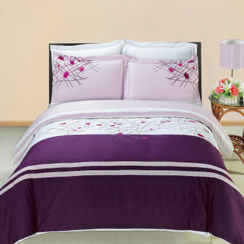 Cherry Embroidered 3-Piece Duvet Cover Sets or Matching Extra Shams