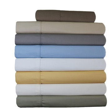 Pair Standard Or King Pillowcases Wrinkle-Free 650Tc 100% Cotton Solid