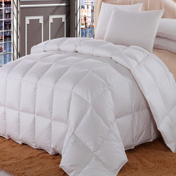 Checkered Striped All Season White Duck Down Comforter Cotton 300TC Shell