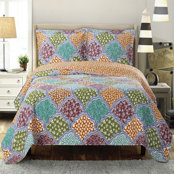 Dahlia Reversible Floral Pattern Bed Quilt Sets Hypoallergenic 100% Microfiber Set