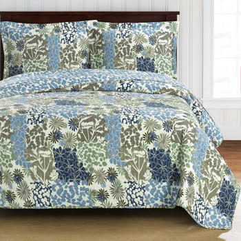 Elena Green Forest Quilt Bedding Oversized Reversible Quilt Set