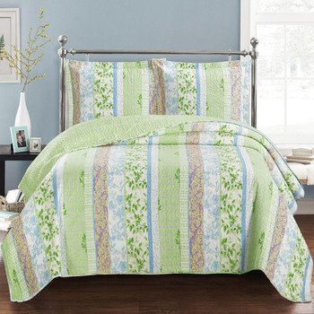 Modern Hayley Bright Spring Forest Design Quilt Set by Royal Hotel