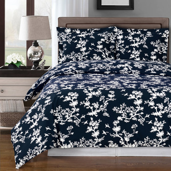 Lucy Navy/White Tree Design 100% Cotton Duvet Cover Set
