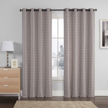 Empress Embroidered Curtains With Grommet Top Jacquard Drapes (Set of 2) -Chocolate