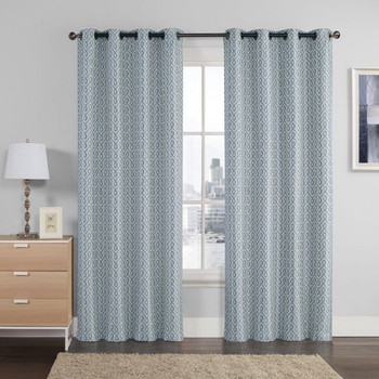 Empress Embroidered 110Wx90L Curtains With Grommet Top Jacquard Drapes (Set of 2)