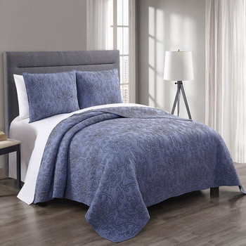 Modern Simmon 100% Cotton Coverlet Set Solid Majestic Pattern