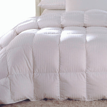 Striped-White-Duck-Down-Comforter-Oversized-closeup