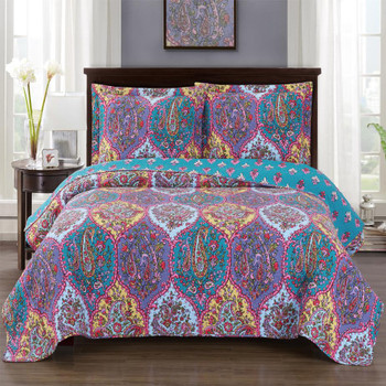 Viola Oversized Quilted Coverlet Mini Bed Quilt Set