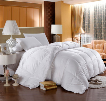 Duck Down Solid 500: 100%cotton 500 Thread count solid shell, 750 fill power, Baffle box construction with 2 inches gusset, Winter 50 ounces fill, Extra-Warmth, Royal Hotel™ $199.99 / Down Bedding