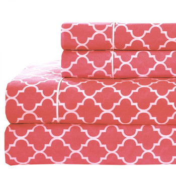 Coral-Extra-Long-Twin-Printed-Meridian-100%-Cotton-Percale-Sheets