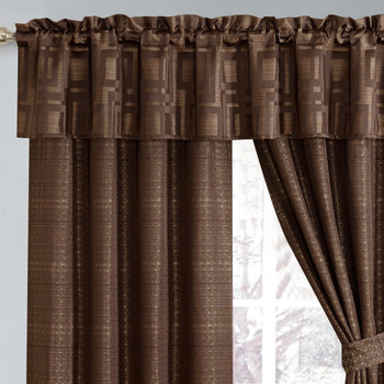 "Janet 5 Piece Lined Jacquard Curtain Panel Set 84""Wx84""L"