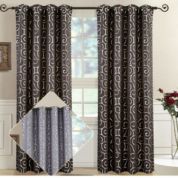 Pair (Set of 2) Top Grommet Window Curtain Panels Abstract Jacquard Tuscany, 104 Inches Total Width.