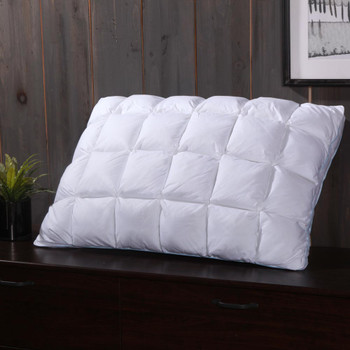 Pleated Goose Down Pillow 600 Thread Count French Bread Firm Neck Support