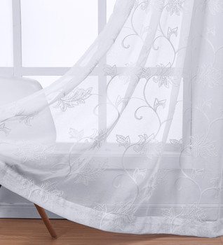 White Andora Embroidered Grommet Top Sheer Panel Curtain-Details