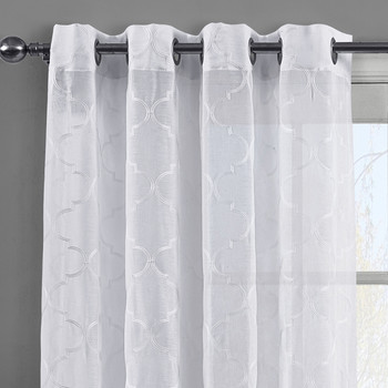 White Miller Embroidered Grommet Top Sheer Panel Curtain Pair-Details