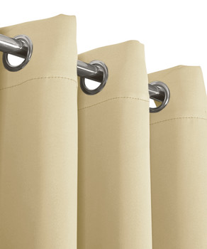 Beige Ava Blackout Weave Curtain Panels With Tie Backs Pair (Set Of 2)