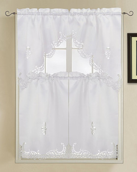 Holland Luxury Embroidered Kitchen Curtain-white