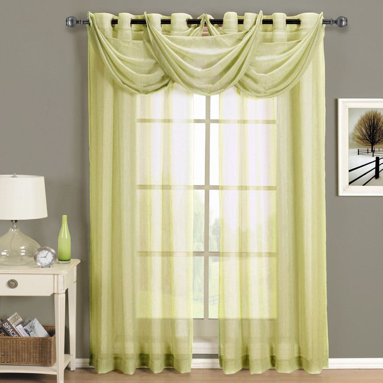 Soft Gold-Abri-Grommet-Crushed-Sheer-Curtain-Panel-Single